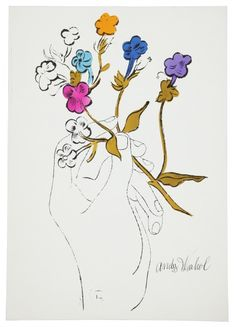 Hand and Flowers - Andy Warhol 1957 American 1928-1987 Offset lithograph with hand-coloring on paper, from the edition of unknown size.