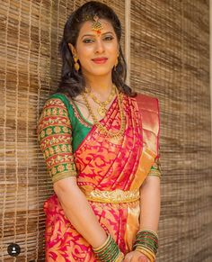For customising your outfits - whatsapp 9133502232 Wedding Saree Blouse Designs, Pattu Saree Blouse Designs, Half Saree Designs, Fancy Blouse Designs, Maggam Work Designs, Designer Blouse Patterns, Indian Designer Wear, Bollywood, Clothes For Women
