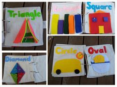 This quiet book consists of six activity pages:    Triangle: use the zipper to open the tent. Find another zipper inside!  Rectangle: match the