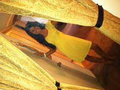 Yellow dress,  cowboy boots