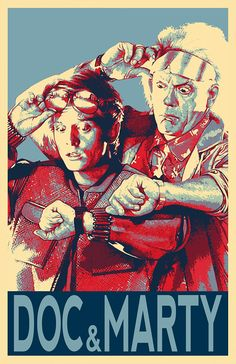 Back to the Future Doc Brown and Marty Mcfly Illustration - Sci-fi Time Travel Film Pop Art Movie Home Decor in Poster Print or Canvas Doc Brown, Digital Foto, Future Wallpaper, Political Posters, Culture Pop, Pop Art Illustration, Marty Mcfly, Alternative Movie Posters, Movie Poster Art