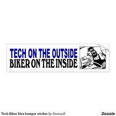 Tech Biker blue bumper sticker