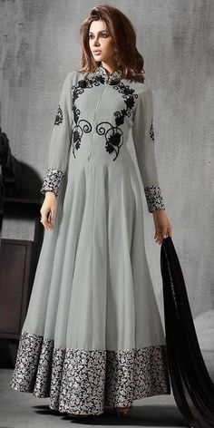 Anarkali Style Grey With Lace Work Incredible Salwar Kameez.