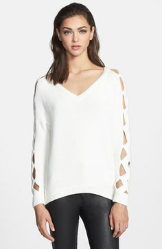 Milly 'Peekaboo' V-Neck Sweater available at #Nordstrom