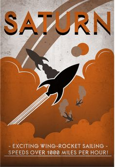 Retro SciFi Saturn Travel Poster