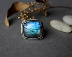sterling silver and Labradorite solitaire ring glowing blues and greens rectangle simple setting cocktail ring