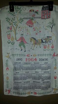 Vintage calendar tea towel. Linen. 1964. Anno Domini