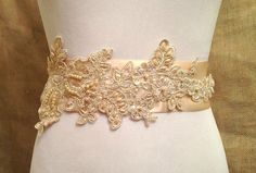 Champagne lace bridal sash beige lace sash by HollyHoopsArt, $45.00
