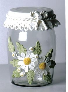 27 Awesome Recycled Jars Ideas For Every Home! Mason Jar Art, Mason Jar Crafts, Bottle Crafts, Polymer Clay Projects, Polymer Clay Creations, Diy Clay, Bottles And Jars, Glass Jars, Recycled Jars