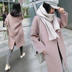 Dropped Shoulder Solid Split Loose Long Coat