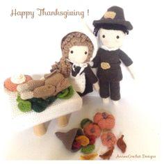 "Happy Turkey day to all! love you all my mad ""Pinners"" Crochet Fall, Holiday Crochet, Crochet World, Crochet Toys, Knit Crochet, Happy Turkey Day, Crochet Decoration, Learn To Crochet, Amigurumi Doll"