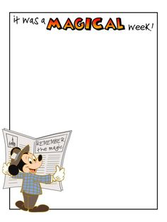 Journal Card - It was a magical week! - Mickey Mouse with newspaper - Photo: A little journal card to brighten up your holiday scrapbook! Walt Disney World Vacations, Disney Trips, Disney Cruise, Pocket Scrapbooking, Disney Scrapbook, Life Journal, Journal Cards, Disney Printables, Disney Fonts