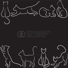 Black background with cat silhouette border Stock Photo - 19577665