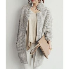 $30.47 Stylish Stand-Up Collar Long Sleeve Loose-Fitting Solid Color Knitted Women's Cardigan