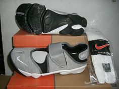 Nike Rift Shoes Womens Nike Air Rift Grey Black White [Womens Nike Air Rift - Look at these nice Womens Nike Air Rift Grey Black White shoes, you may be deeply fascinated by them, for they are so perfectly processed. The velcro straps around the heel e Black And White Shoes, White P, Nike Air Rift, Velcro Straps, Balenciaga, Nike Shoes, Nike Women, Free Shipping, Grey