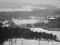 View from above on a snowy winter day. Black Mountain College