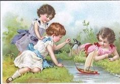 Trade card young girls with a toy sailboat
