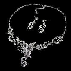 Chic Diamante Butterfly Pendant Flower Embellished Necklace and Earrings For Women, AS THE PICTURE in Necklaces | DressLily.com
