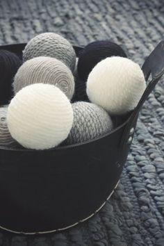 Styrofoam ball + glue + yarn = Christmas ornaments!