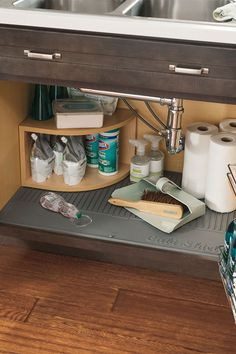 """Designed for 36"""" wide sink base cabinets, CabMat is removable for easy cleaning, and contains an antimicrobial additive to aid in mildew resistance."""