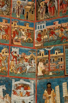 Painting at Voronet Monastery, Southern Bucovina, Romania (by Ian Cowe) Orthodox Catholic, Medieval Clothing, Adam And Eve, Place Of Worship, Eastern Europe, Byzantine, Travel Around The World, Fresco, Oriental
