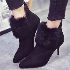 US $17.99 Kwan Elegant Women's Shoes High Heels Slim Velvet Plush Fur Pumps Ankle Boots Winter