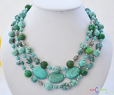 """S1475 3row 18"""" blue green bead turquoise necklace"""
