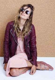 madewell playlist sunglasses worn with the washed leather motorcycle jacket, silk lowlight lace-inset midi dress + julie flat in velvet.