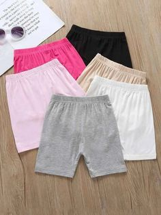 Toddler Girls 6pcs Solid Elastic Waist Shorts – Kidenhouse Toddler Girl Shorts, Toddler Girls, Short Niña, Belted Shorts, Rolled Hem, Vertical Stripes, Spandex Material, Elastic Waist, Cotton Fabric