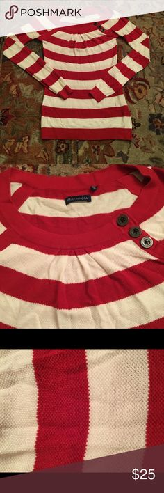 Martin & OSA red striped sweater with buttons Martin & OSA red striped sweater with buttons. Cozy and soft material. Perfect for fall and the holiday season! Martin + Osa Sweaters Crew & Scoop Necks