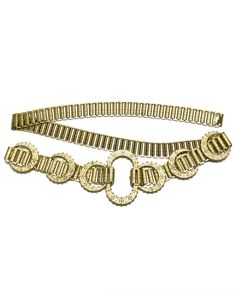 Gold plated link belt in excellent condition. Features rectangular links with crescent details. Made in the 1960's.