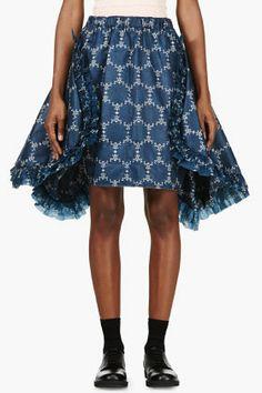 COMME DES GARÇONS Blue Printed Ruffle Skirt
