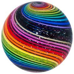 Eddie Seese Brilliant Rainbow & Dichro Swirl Art Glass Marble