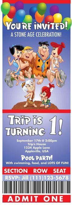 Flintstone Party Birthday Invitation by lulime44 on Etsy, $10.00