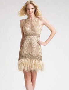 Sue Wong Cocktail Sequin and Feather Gatsby Cocktail Dress