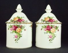 2 Royal Albert Old Country Roses Storage Jars 1st Quality