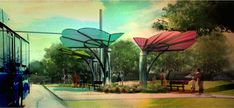 These Competition-Winning Bus Shelters In Austin Will Harvest Rainwater For A Pocket Park