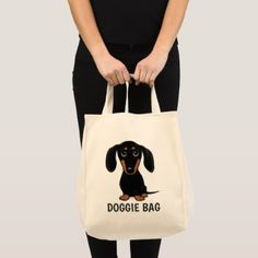 Cute Black and Tan Dachshund with Custom Text Tote Bag - gift idea custom