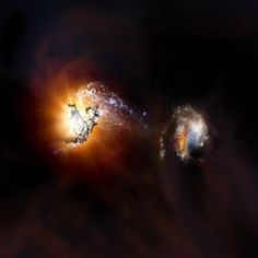 ALMA Spots Pair of Extremely Rare Hyper-Luminous Starburst Galaxies / 11/13/17 Artist's impression of two starburst (star-forming) galaxies beginning to merge in the early Universe: NRAO / AUI / NSF.
