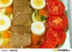 Vepřový jazyk s vejci v aspiku recept - TopRecepty.cz Sausage, Tacos, Mexican, Meat, Ethnic Recipes, Food, Sausages, Essen, Meals