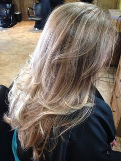 Sandy blonde base with fine platinum highlights, a few dark blonde accent lowlights and balayage the ends.