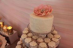 Peony Wedding Cake and cupcakes. Everyone gets a cupcake, the cake is mine.