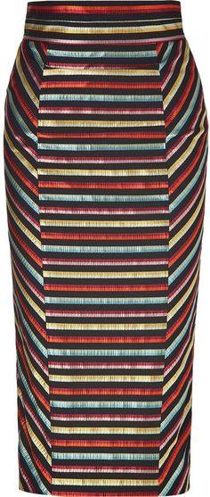 fb17d68015452f L Wren Scott LWren Scott Black-Multi Striped High Waisted Pencil Skirt -  ShopStyle