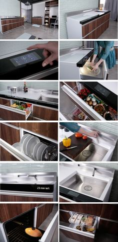 The Micro-Kitchen unveiled by Lou Lenzi of GE Appliances at Dwell on Design 2014, incorporates microwave, conventional oven, range, convertible refrigerator/freezer, dishwasher, sink with disposal, and downdraft ventilation system.