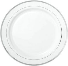 10 1/4in Plates  |  SKU: 292384 Price: $9.99 White Silver Trimmed Premium Plastic Dinner Plates 10ct - Party City