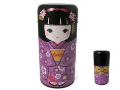 Cute Japanese Girl in Purple Kimono Tea Canister