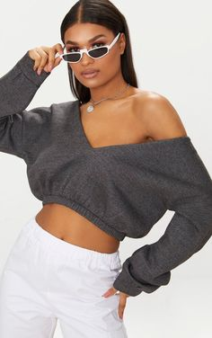 c579625a753 Charcoal Crop Off Shoulder Sweater