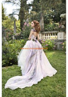 2013 Neue traumhafte Brautkleider aus Organza und Satin mit Schleppe V-Ausschnitt