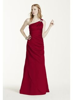 Long One Shoulder Satin Dress with Embellishments F15940