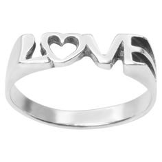 Women's Journee Collection Love with Heart Ring in Sterling Silver